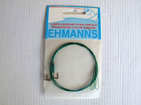 EHMANNS - 3 Einzelhaken mit Stahlvorfach