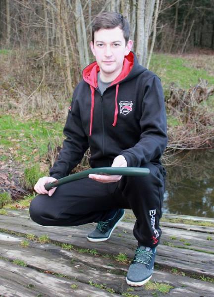 EHMANNS fishing Black Zipped Hoodies Bestickt